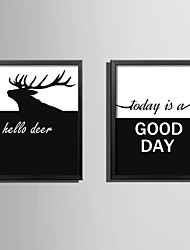 E-HOME® Framed Canvas Art Deer and Letters Theme Series Framed Canvas Print One Pcs