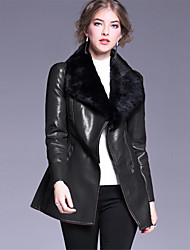 OULIE Women's Casual/Daily Simple Leather JacketsSolid Shirt Collar Long Sleeve Winter Black PU Polyester Thick