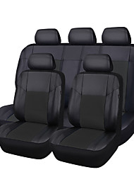 Pu Leather 5 Seat Covers Full Black Fit Most Cars zt-0012-10