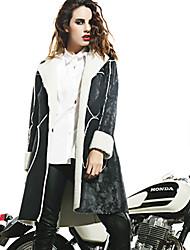 Feminino Jaqueta Casual Moda de Rua Inverno, Sólido Preto Pêlo Sintético Poliéster Lapela Chanfrada-Manga Longa Média