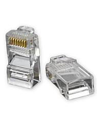 RJ45 8 broches ABS Modular Plug Connecteur Transparent 50 PCS