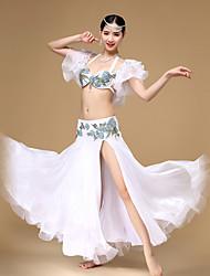 Dança do Ventre Roupa Mulheres Actuação Algodão / Náilon Chinês / PoliésterCristal/Strass / Bordado / Flor(es) / Amarrotado / Lantejoulas
