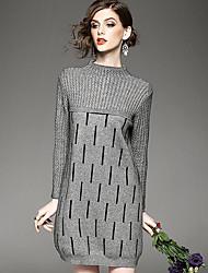 Women's Casual/Daily Boho Sweater Dress,Striped Round Neck Knee-length Long Sleeve Gray Rayon Fall Winter Mid Rise Micro-elastic Medium