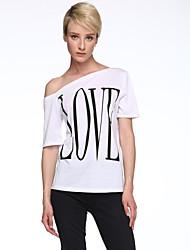 Damen Druck Einfach Lässig/Alltäglich T-shirt,Geschlitzter Ausschnitt Sommer Kurzarm Weiß Polyester Dünn