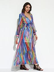 Women's Beach Boho Sheath Dress,Color Block Deep V Maxi Long Sleeve Blue Polyester Summer