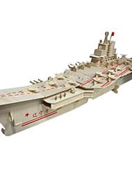Puzzles 3D - Puzzle Bausteine DIY Spielzeug Flugzeugträger 1 Holz Rot Weiß Model & Building Toy