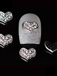 10pcs 3d coração liga prego projeto de strass diy unha arte decoração