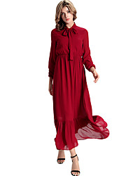 Women's Casual/Daily Simple Loose Dress,Solid Shirt Collar Maxi Long Sleeve Red Polyester All Seasons Low Rise Micro-elastic Medium