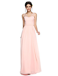 2017 Lanting Bride® Floor-length Georgette Open Back / Elegant Bridesmaid Dress - A-line V-neck with Bow(s)