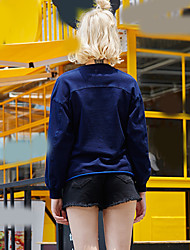 Dames Casual/Dagelijks / Vakantie Eenvoudig / Actief Normaal Hoodies Geborduurd / Letter-Blauw Ronde hals Lange mouw KatoenHerfst /
