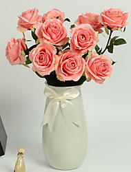 1 1 Ramo Poliéster / Couro Ecológico Rosas Flor de Mesa Flores artificiais 24.8inch/63cm