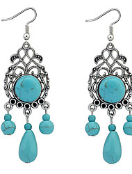 Fashion Imitation Turquoise Retro Water Droplets Drop Earrings Jewelry Women