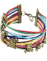 Indian Jewelry Boho Bracelets Antique Gold Skull Decoration Colorful Braided Rope Chain Multi Layer Wrap Bracelets Bangle