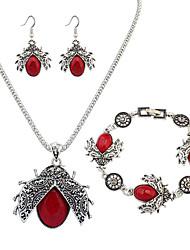 Schmuck 1 Halskette 1 Paar Ohrringe 1 Armreif Alltag Aleación Harz 1 Set Damen Rot Grün Hochzeitsgeschenke