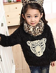 Girl's Fashion Cotton Spring/Fall/Winter Going out/Daily Long Sleeve Children Warm Thicken Hoodie Sweatshirt & Leopard Neckerchief