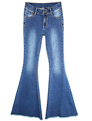 Women's Bootcut Jeans Pants,Casual/Daily Simple Solid High Rise Button Cotton Micro-elastic Fall / Winter