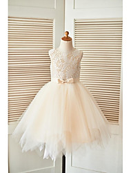 A-line Knee-length Flower Girl Dress - Lace / Tulle Sleeveless Scoop with Sash / Ribbon