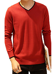 Men's Going out Casual/Daily Plus Size Simple Cute Street chic Regular Pullover,Solid Blue Red Black Gray Yellow V Neck Long Sleeve Cotton