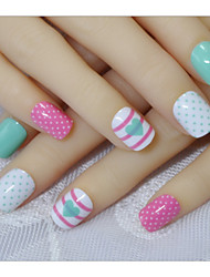 24 Pieces Of False Bride Nail Nails Products Nail Product Wave Snack Heart False Nails Products