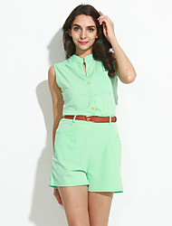Women's Turquoise Button Front Belted Romper