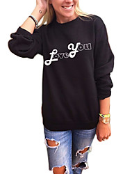 Women's Casual/Daily Sports Active Simple Sweatshirt Letter Oversized Round Neck Fleece Lining Micro-elastic Polyester Long SleeveFall