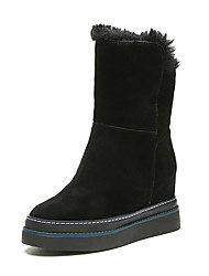 Women's Boots Winter Platform Cashmere Fur Leather Casual Chunky Heel Black Walking