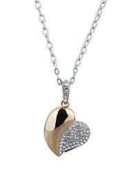 8gb coração de cristal em forma USB pendrive colar (de ouro)
