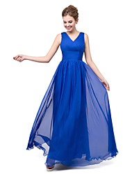 Formal Evening Dress - Sparkle & Shine / Elegant Ball Gown V-neck Floor-length Chiffon / Sequined with Draping / Sequins / Side Draping
