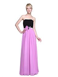 LAN TING BRIDE Floor-length Strapless Bridesmaid Dress - Color Block Sleeveless Chiffon