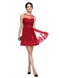 2017 ts Couture® bal robe de cocktail - mini-moi un bijou en ligne mini court tulle / avec appliques / écharpe / ruban / arc (s)