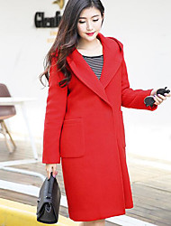 Women's Going out Casual/Daily Simple Street chic Coat,Solid Hooded Long Sleeve Winter Blue Red Orange Wool Polyester Thick