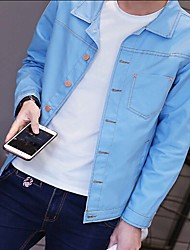 Men's Casual/Daily Chinoiserie Denim Jackets,Solid Peter Pan Collar Long Sleeve Fall / Winter Blue / Black Rayon Medium