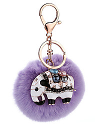 Key Chain Sphere / Elephant Key Chain Purple Metal / Plush