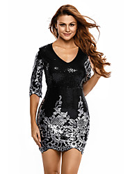 Women's Black Victorian Sequins 3/4 Sleeves Bodycon Dress