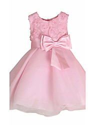 Baby Girl/Girl's Wedding Party Pageant Birthday Dress Sweetest Pink Rose & Bow Overlay A-Line Dress