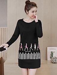 nouvelle robe verges korean mince motif femme d'impression d'hiver, plus épaisse chemise de velours de support