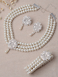 Schmuck Halsketten Ohrringe Armband Braut-Schmuck-Sets Set Hochzeit Party 3 Stück Damen Elfenbein Hochzeitsgeschenke