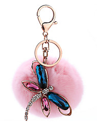 Key Chain Sphere Butterfly Pink Metal