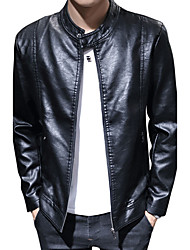 Men's Casual/Daily Work Club Simple Street chic Active Leather Jacket,Solid Stand Long Sleeve Fall Winter Wash separately Cotton PU