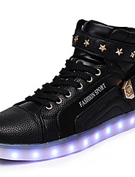Unisex Sneakers Spring Summer Fall Winter Comfort Novelty Light Up Shoes PU Outdoor Casual Athletic Flat Heel LED Lace-up Hook & Loop