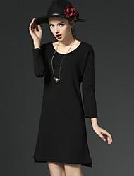 Mujer Corte Ancho Vestido Casual/Diario Simple,Un Color Escote Redondo Sobre la rodilla Manga Larga Negro Algodón Otoño Tiro Alto