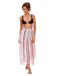 Women's  Ethnic Print Maxi Skirt Wrapped Beach Dress