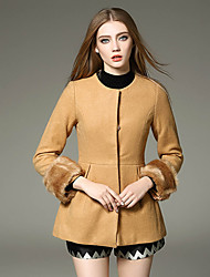 WEIWEIMEI  Women's Casual/Daily Simple CoatSolid Round Neck Long Sleeve Fall / Winter Brown Wool / Polyester