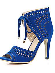 Damen-Sandalen-Lässig Party & Festivität-Kaschmir-StöckelabsatzSchwarz Blau Rot
