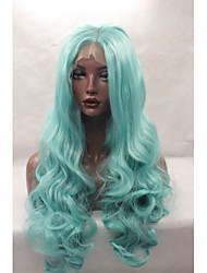 Synthetic Lace Front Wigs Mint Green Wavy Synthetic Wigs Cosplay Wigs For Black Women