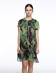Women's Vintage Print Sheath Dress,Round Neck Above Knee Silk
