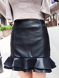 2016 Korean version of a solid color umbrella waist fishtail culottes loose a word was thin half-length leather skirt child