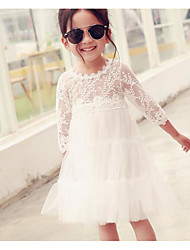 Girl's Going out Casual/Daily Party/Cocktail Solid Dress,Organza Summer Spring Long Sleeve