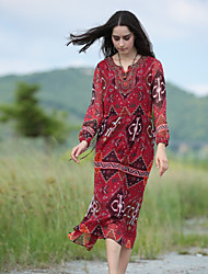 VINIKAWEN  Women's Casual/Daily Boho Sheath DressGeometric V Neck Midi Long Sleeve Red Polyester Fall Mid Rise Inelastic Medium