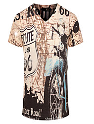 Tee-shirt Hommes,Motif Animal Décontracté / Quotidien Chic de Rue Printemps / Eté Manches Courtes Col en V Multi-couleur Fibre de bambou